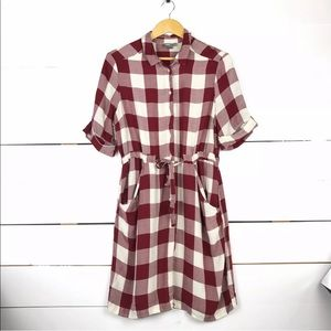 ASOS gingham plaid belted dress